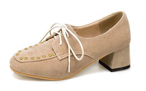 Aisun Femmes Cloutés Coupe Basse Trendy Orteils Lacets Jusquà Oxfords Mi Talon Chunky Pompes Chaussures Beige