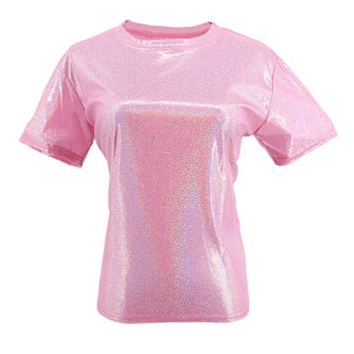 Liliam Women Girls Casual Metallic Holographic Hip Hop Oversized Baggy Loose Fit Tank Tops Blouse T-Shirt Tee(Pink)