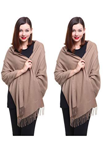 - REEMONDE Large Extra Soft Cashmere Blend Women Pashmina Shawl Wrap Stole Scarf (2 Pack - Camel)