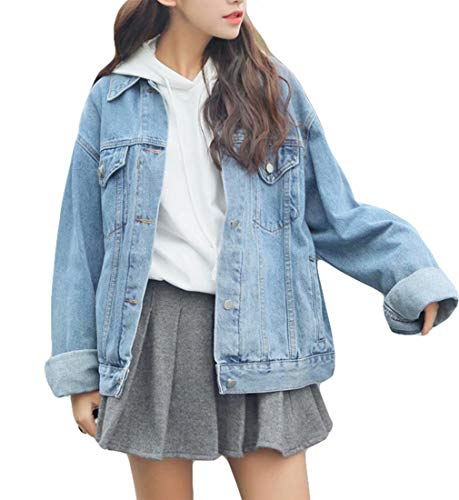 Ankecity Women's Boyfriend Denim Jackets Long Sleeve Loose Jean Coats Oversize