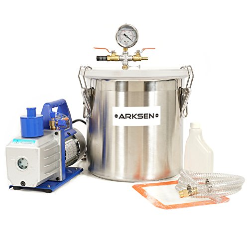 - ARKSEN 5 Gallon Vacuum Chamber Silicone Degassing Expoxy with 1/2HP 5CFM Vacuum Pump