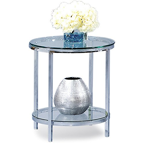 Bassett Mirror Company Patinoire Polished Chrome and Glass Round End Table