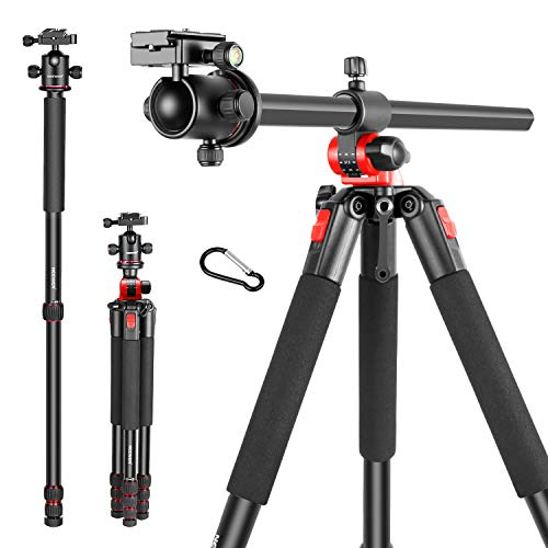 Neewer 2-in-1 Camera Tripod Monopod with 360 Degree Rotatable Center Column and Ball Head QR Plate – 72.5 inches Aluminium 4 Section Tripods Legs for DSLR Cameras Video Camcorders up to 33 pounds