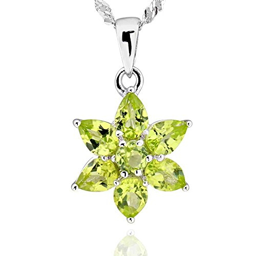 - GemsChest Sterling Silver Pear Shaped Peridot Flower Pendant Necklace 17