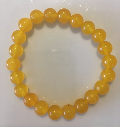- Rare yellow South American Topaz 8mm semi precious gemstone bracelet