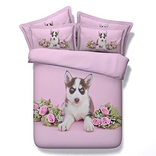 "Cheap KTLRR Husky Dog Lover Decor Twin Size Duvet Cover Set""No Comforter"",Pink 3D Cute Husky with Rose Flowers,Decorative 4 Piece Bedding Set with Bed Sheet & 2 Pillow Shams (Pink dog, Twin) free shipping"