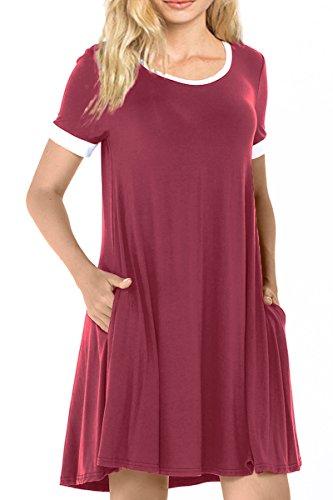 Sunfury Ladies Pocket Tunic Top Plus Size Split Ruffle Flowy Dress Wine L Cotton Spandex Jersey Bandeau Dress