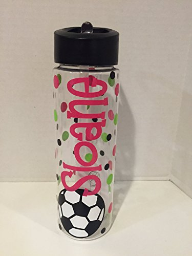 Personalized soccer 24 ounce BPA free water bottle by Dotted Designs