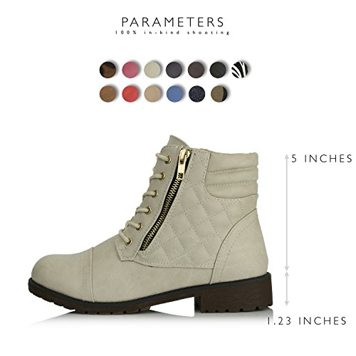 DailyShoes Pocket Ivory PU Combat Ankle Up High Buckle Card Credit Exclusive Women's White Boots Military rqawrpFT