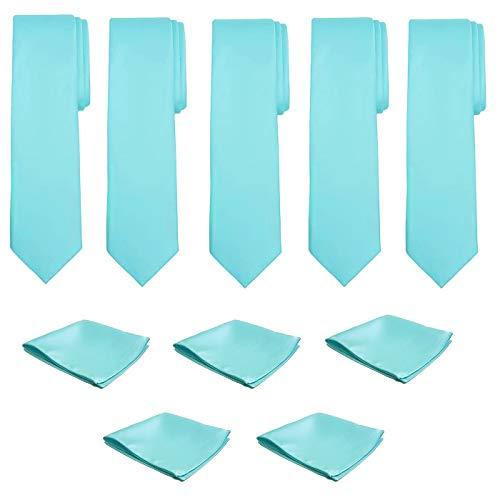 (Mens Necktie Pocket Square 10 Pcs Set Solid Color Tie and Handkerchief for Wedding (Seafoam))