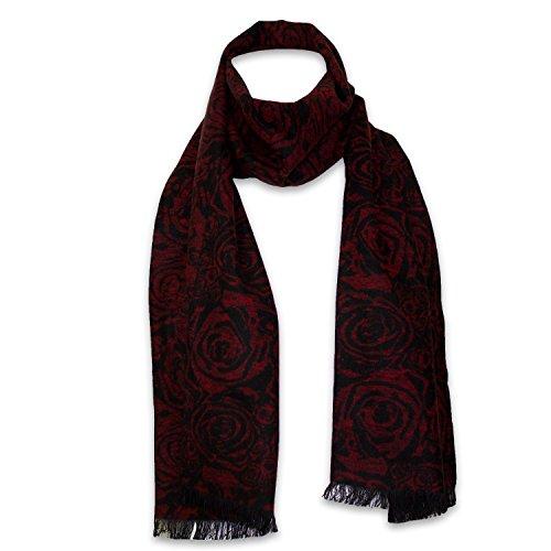 StrayKat Men's Silk Viscose Luxury Soft Reversible Scarf, Designer Gift Box, O/S (O/S, Red Black Roses)