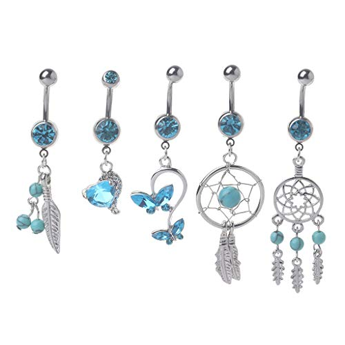 Fucung 5PCs Blue Gem Dream Catcher, Dangle Belly Button Ring, Navel Piercing Body Jewelry (Gauge Dangle 16 Gem)