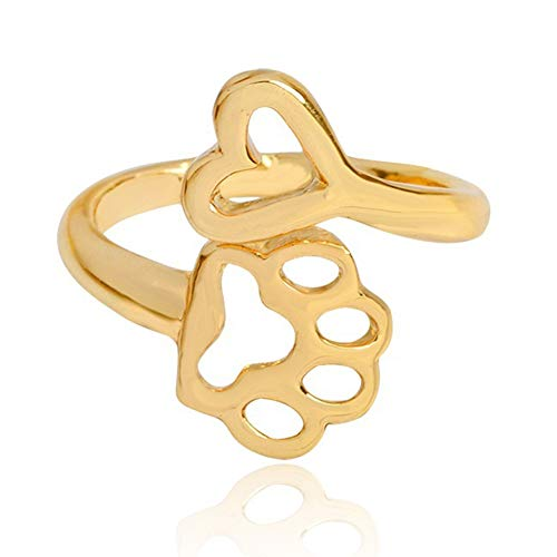 lEIsr00y Adjustable Opening Ring Hollow Love Heart Dog Paw Ring Jewelry for Dog Owner - Golden Opening Ring Hollow Heart Dog Paw