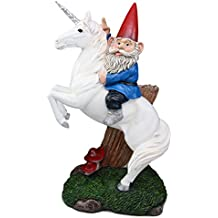 """Atlantic Collectibles Toadstool Gnome Riding Unicorn Statue 14""""Tall Whimsical Journey Alexander The Great With Bucephalus Pose Sculpture"""