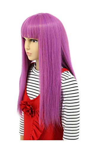 Karlery Child Kids Long Straight Purple Wig Halloween Cosplay Wig Anime Costume Party -