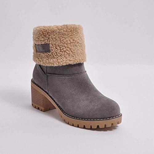 Logobeing Botas Mujer Invierno Botines Mujer Tacon Alto Plataforma Botas Mujer Cuñas Zapatos de Invierno Botas de Nieve Calzado Botas Cálidas Flock Martin: ...