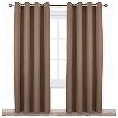 "NICETOWN Blackout Draperies Curtains Panels - Window Treatment Thermal Insulated Solid Grommet Blackout Curtains/Panels/Drapes for Bedroom (Set of 2 Panels, 52 by 84 Inch, Cappuccino) - ELEGANT DESIGN: 2 panels per package. Each Blackout Curtain measures 52"" wide x 84"" long. The design of silver grommet (1.6 inch inner diameter) creates casual elegance for your house, which makes the curtains easy to install and slide. AMAZING MATERIAL: Super heavy and soft Blackout Curtain Panels are very upmarket. Besides, 85%-99% light blocking, thermal insulated, soundproof, Fade-resistant, energy efficient. Thread trimmed and wrinkle free, both sides are the same color. WISE BUDGET: Protect your furniture and floor exposed to the sun, while still helping you save money on heating and cooling your home. Privacy protection. The greatest benefit is to bring you a good night's sleep, making you full of energy every day. - living-room-soft-furnishings, living-room, draperies-curtains-shades - 41fMKWF3BvL. SS400  -"