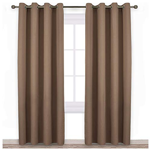 NICETOWN Bedroom Blackout Curtains and Drapes - Window Treatment Thermal Insulated Solid Grommet Blackout Draperies for Bedroom (Set of 2 Panels, 52 by 95 Inch, Cappuccino)