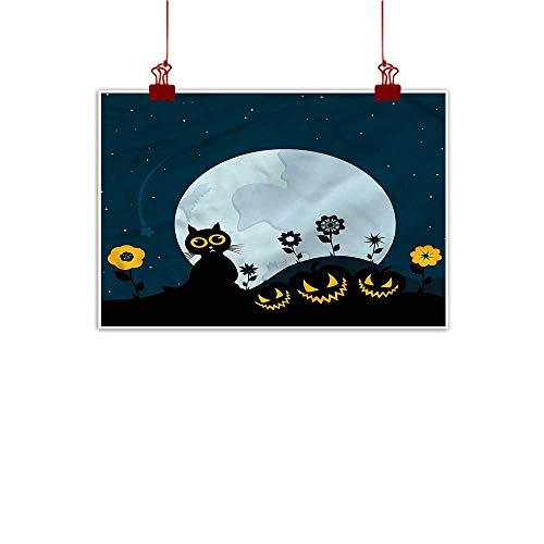 Anzhutwelve Home Wall Decorations Art Decor Halloween,Kitty Under Moon 32