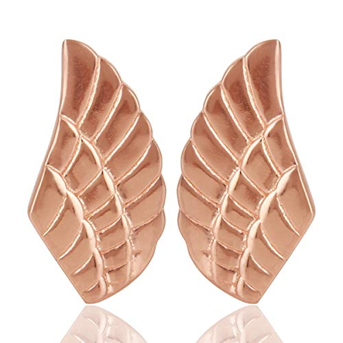 Rose Gold Plated 925 Silver Angel Wing Stud Earrings for Girls Jewelry