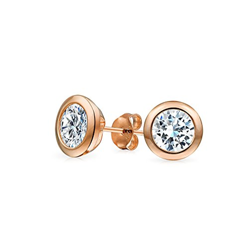 - .75CT Simple Classic Martini Bezel Set Cubic Zirconia AAA CZ Stud Earrings For Women Rose Gold Plate 925 Sterling Silver