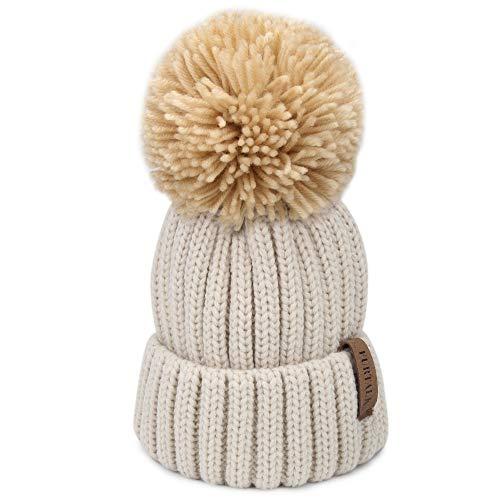 FURTALK Winter Knit Hat Real Raccoon Fur Pom Pom Womens Girls Warm Knit  Beanie Hat 1a467eba4c80