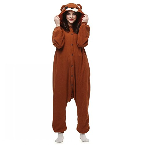 Adult Brown Bear Costumes (dressfan Unisex Adult Kids Animal Cosplay Costume Brown Bear Pajamas)