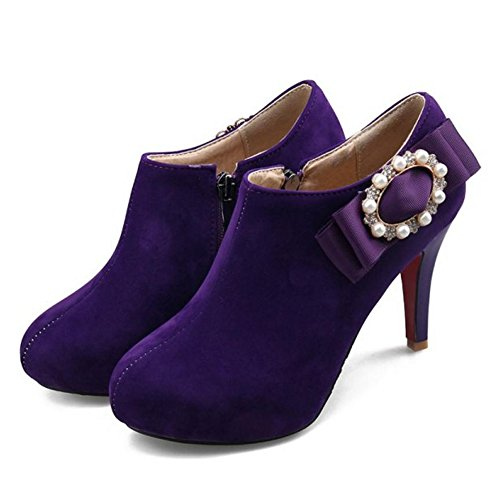 Boots Purple 1 Zipper Women COOLCEPT qURwx6