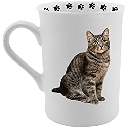 Dimension 9 Tabby Cat Coffee Mug, White