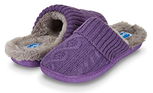 Floopi Womens Indoor Outdoor Cozy Cable Knit Fur Lined Open Back Slipper W/Memory Foam (M, Purple/Grey-313) from Floopi