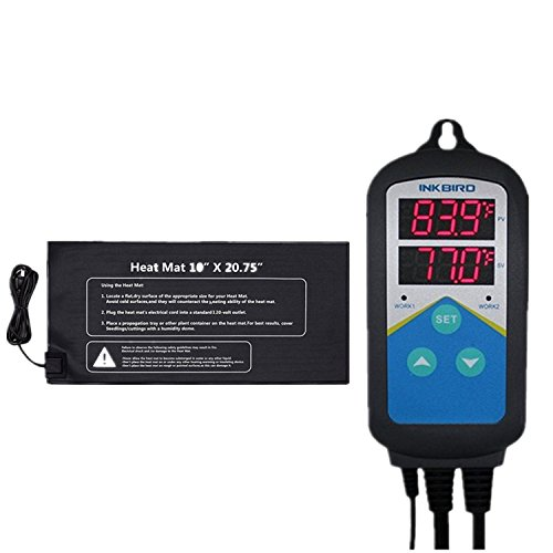 Inkbird ITC308,ITC306T,ITC310T Digital Temperature Controller Outlet Thermostat 110V, 1000W + 10'' x 20.75'' 110V 21W Waterproof Heat Mat (ITC-306T+Heat Mat) by Inkbird