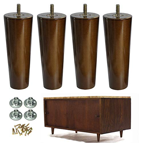 Wood Furniture Legs Set of 4 Sofa Legs 6 inch Walnut Finished Replacement Feet for End Tables Cabinet Dresser Furniture Restoration