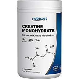 Nutricost Creatine Monohydrate (1 KG) - 200 Servings, 5000mg Per Serve - Pure Creatine Monohydrate
