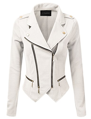 JJ Perfection Womens Long Sleeve Double Zip Up Moto Jacket Outerwear Offwhite L