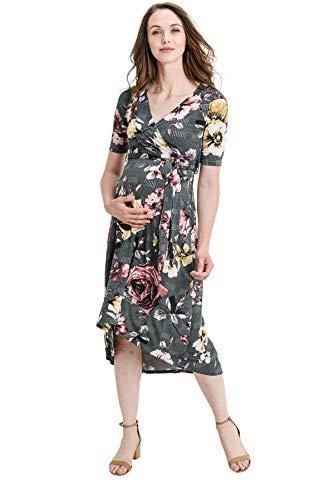 (Hello MIZ Women's Floral High-Low Surplice Wrap Nursing and Maternity Dress (Grey Glen Plaid/Flower, XL))