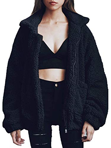(Women's Coat Casual Lapel Fleece Fuzzy Faux Shearling Zipper Coats Warm Winter Oversized Outwear Jackets (xs, Black))