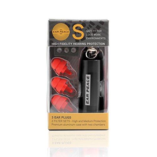 耳栓 3種フィルター EarPeace S 作業用 /イアーピース S 防音耳栓 (1, 黒ケース/レッドプラグ) B076VV4XNR 黒ケース/レッドプラグ