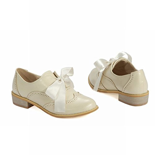 Heel Beige Women's Sweet Cute Lace up Carolbar Lovely Shoes Cosplay Ribbon Low Lolita Oxfords OwBvgqnRn