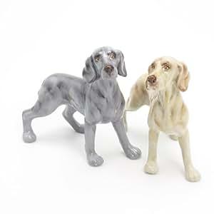 Weimaraner Dog Ceramic Figurine Salt Pepper Shaker 00012 Ceramic Handmade Dog Lover Gift Collectible Home Decor Art and Crafts