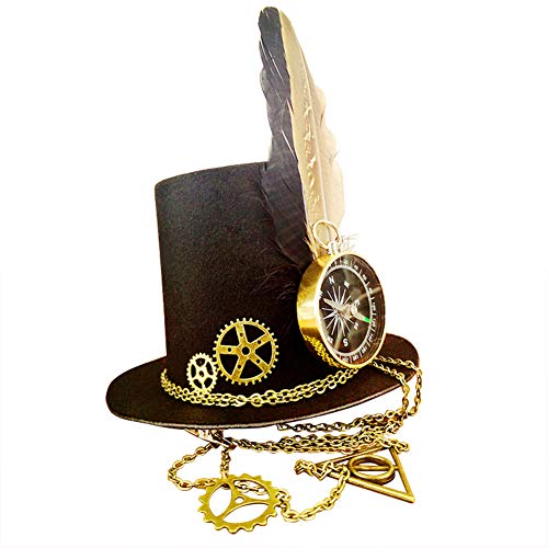 Julitech Steampunk Costume Vintage Copper Top Hat, Compass, Feathers & Gears Victorian Gothic Accessories for Cosplay Halloween -