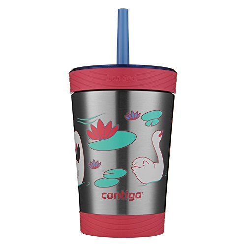 Contigo Stainless Steel Spill-Proof Kids Tumbler with Straw, 12 oz, Wink with Swans Swimming ()