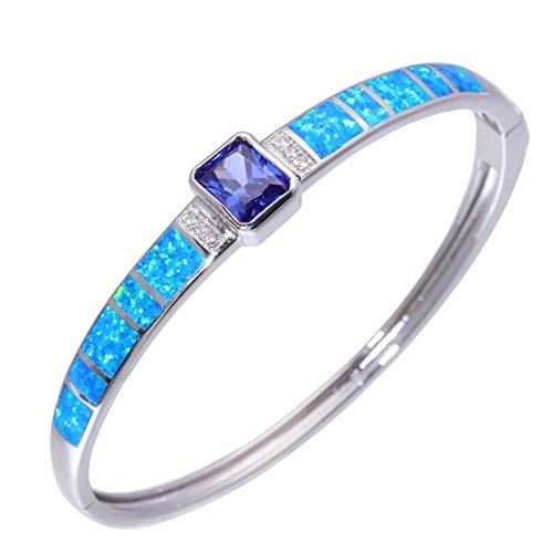 CiNily Created Blue Opal Sapphire Zircon Rhodium Plated Women Jewelry Adjust Cuff Bangle Bracelet