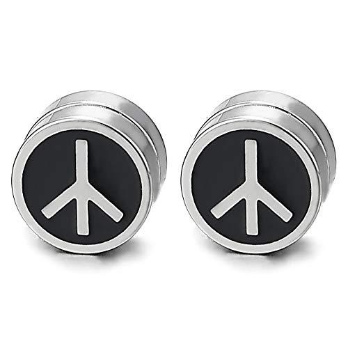Steel Magnetic Anti-War Peace Sign Circle Stud Earring Black Enamel, Non-Piercing Cheater Fake Ear