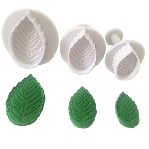 3-piece Plastic Veined Rose Leaf Plunger Cutter Set Fondant Embossing Tool for Cupcake Topper Cake Decorating Color White
