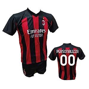 Completo Calcio Maglia Milan Personalizzabile + Pantaloncino Replica Autorizzata 2020-2021 Bambino (Taglie 2 4 6 8 10 12… 41fMOAwYP8L. SS300