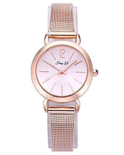 JSDDE Uhren,Einfach Elegante Damen Armbanduhr XS Slim Uhren Mesh Metallarmband Analog Quarz Uhr,Rosegold