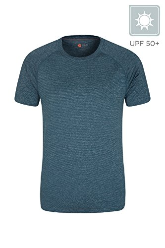 Mountain Warehouse Isocool Agra Mens Striped Tee   Uv Summer T Shirt Petrol Blue Large