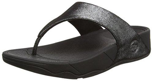FitFlop Women's Lulu Shimmersuede Flip Flop, black, 9 M - Black Lulu