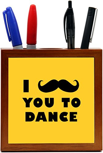 Rikki Knight I Mustache You To Dance Yellow Color Design 5-Inch Tile Wooden Tile Pen Holder (RK-PH42957) by Rikki Knight