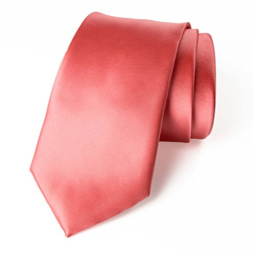 Spring Notion Men's Solid Color Satin Microfiber Tie, Regular Coral